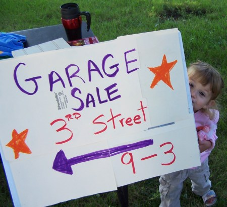 Handmade sign and toddler: the only promotional devices God intended.