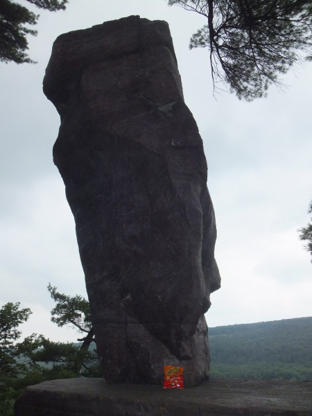 Some brave the treacherous and rocky Ice Age Trail for a view of Balanced Rock. I did it for my Cheetos.