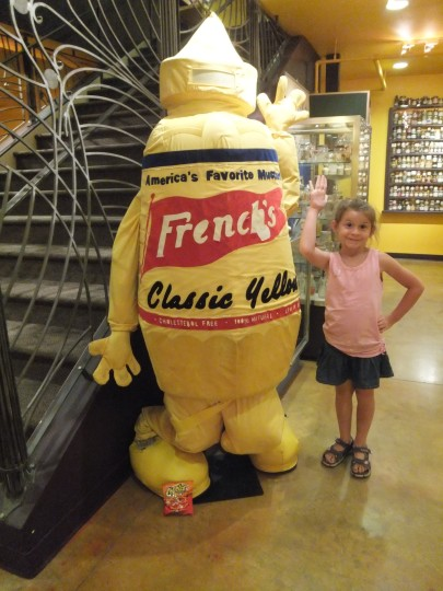 Mabel found her very first Cheetos... all by herself!  I really couldn't be prouder of my daughter than I was at that moment, there, in the basement of the National Mustard Museum.